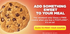 Subway cookie free